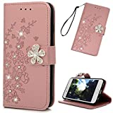 MOLLYCOOCLE Compatible for iPhone 6 Case, iPhone 6S Case, Wallet Bling Diamond Flower Premuim PU Leather Soft TPU Bumper Flip Slim Magnetic Kickstand Card Slots Cover for iPhone 6/6S Case, Rose Gold