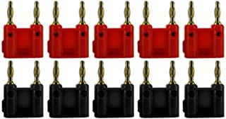 Sewell Dual Tip Banana Plug Clips, 10 Pack (5 Red and 5 Black)