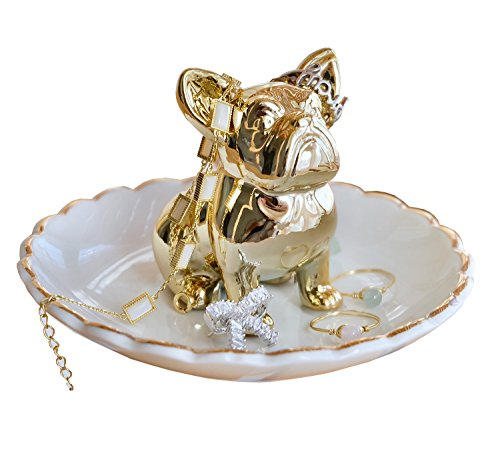 PUDDING CABIN Bulldog Ring Holder Dish Gifts for Mom Birthday Gift for Women Friend Girls Aunt Mother Bridesmaid Wedding Engagement Xmas Gift