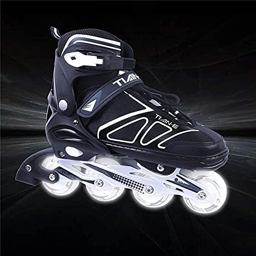 XIUWOUG Inline Skates for Kids Girls and Boys, Adjustable Inline Skates with 8 Luminous Wheels for Indoor and Outdoor, Unisex Adult Beginner Fitness Skates (S-XL),Black,XL 42_45