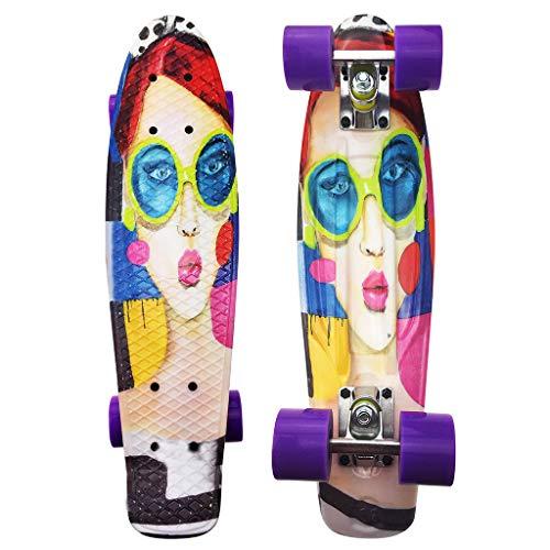 SHUANGA Mini Cruiser Board Retro Skateboard Komplettboard mit LED Leuchtrollen für Jugendliche Kinder und Erwachsene