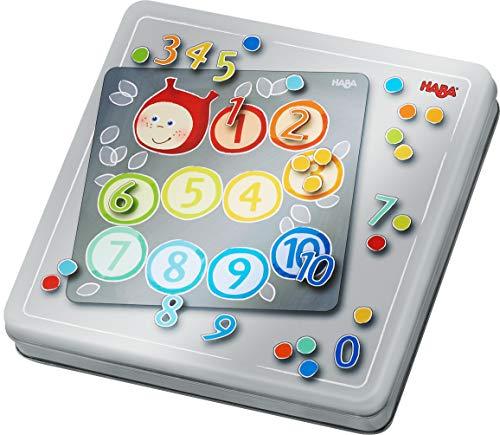 Haba 305050 Magneetspeeldoos, met 4 achtergrondafbeeldingen en vele magnetische puzzelonderdelen, voor het leren van cijfers en hoeveelheden, voor kleuters vanaf 5 jaar