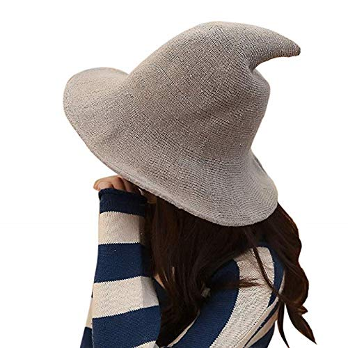 Hozzi Women's Halloween Witch Hat Wool Knitted Cap for Party Cosplay Costume Accessory (Camel)