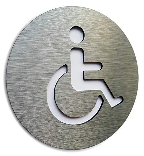 Aluminiumhandikap-Badezimmer-Zeichen - Behinderung Plaque - Parken-Rollstuhl-Symbol - WC deaktiviert Aufkleber - Handicap Modern Restroom Signage - Rollstuhl-WC-Piktogramm
