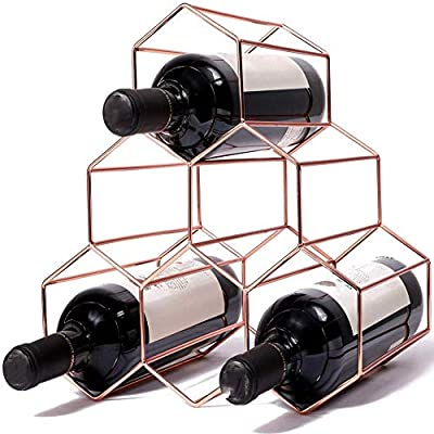 FGHTL Metal Wine Rack Wine Storage Holder 6 Bottle Wine Holder Rack Stand Space Saver Protector Countertop Free Stand Wine Rack for Red & White Wines (6 Bottles Metal Wine Rack Gold) from FGHTL