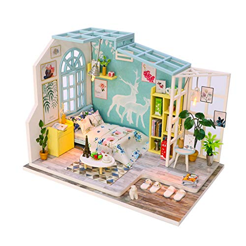 GBSELL DIY 3D Wooden Miniature Dollhouse Furniture Kit with LED Light Decorations w/Furniture Accessories -for Toddler Girls and Kids Crafting Toy (A)