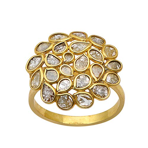 Anillo de flor en negrita de diseñador de diamantes Polki natural chapado en oro de 14k de 2 CTW, anillo de plata de ley 925, anillo de diamantes pavé,