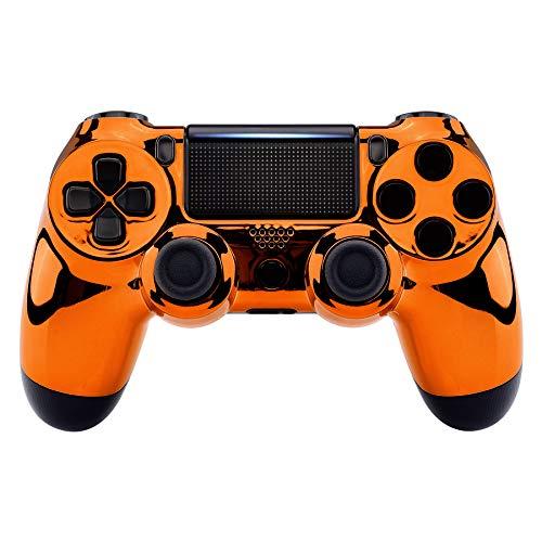 eXtremeRate PS4 Controller Obere Hülle Case Schutzhülle Cover Oberschale Skin Schale Gehäuse Shell für Playstation 4 PS4 Slim PS4 Pro Controller CUH-ZCT2 JDM-040 JDM-050 JDM-055(Chrome Orange)