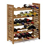Relaxdays - Botellero Nogal para 25 Botellas hxbxt: 73 x 63 x 25 cm Botella Madera...