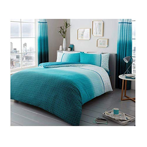 Duvet Cover Set Double Size Bed with Pillowcases Quilt Bedding Set Printed Reversible Poly Cotton, Urban Ombre Teal
