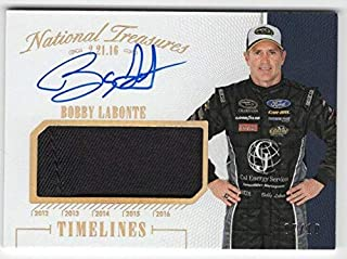 2016 Panini National Treasures Bobby Labonte Fire Suit Signed Auto Card #d 07/10 - Panini Certified - Autographed NASCAR Cards