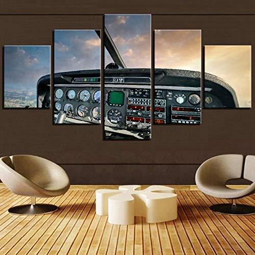 5 Piezas Lona Murales Cuadro Moderno Lienzo Cabina De Carteles De Aerocraft del Conductor Arte Pared Alta Definición Pintura Decorativa Home Dormitorio Óleo Lona Pintura Mural Regalos