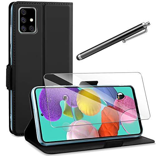 AROYI Samsung Galaxy A51 Hülle + Schutzfolie + Touchscreen-Stift, Samsung Galaxy A51 PU Leder Tasche Hülle Flip Schutzhülle mit Ständer & Kartenfach für Samsung Galaxy A10, Schwarz