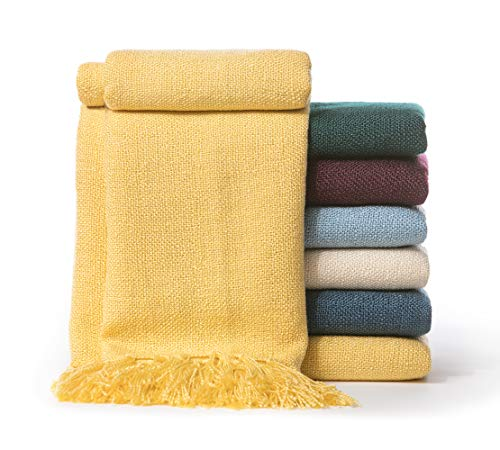 Chanasya Silky Textured Solid Decorative Throw Blanket with Tassels - Elegant Chick Woven Kntted for Sofa Couch Bed Room Fringed Throw Blanket Gift for Wedding Birthday (50x65 Inches) Yellow