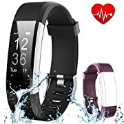 Fitness Tracker HR Flenco Waterproof Activity Tracker Heart Rate Monitor Smart Bracelet Health Sport Watch Wearable Pedometer Wristband Sleep Tracker Calorie Step Counter For Kids Children Women Ladies Men Boy Girls iPhone Android IOS