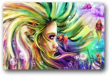Ccolorful Dream Girl Art Painting Customized Doormat Entrance Mat Floor Mat Rug Indoor/Front Door/Bathroom/Kitchen and Living