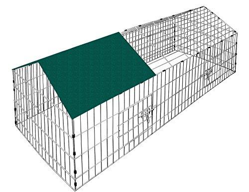 Deuba Recinto animali da esterno parasole verde 180x75x75cm gabbia da esterno conigliera conigli piccoli animali verde