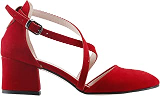 Ayakland 97544-385 Günlük 5 Cm Topuk Bayan Süet Sandalet Ayakkabı KIRMIZI