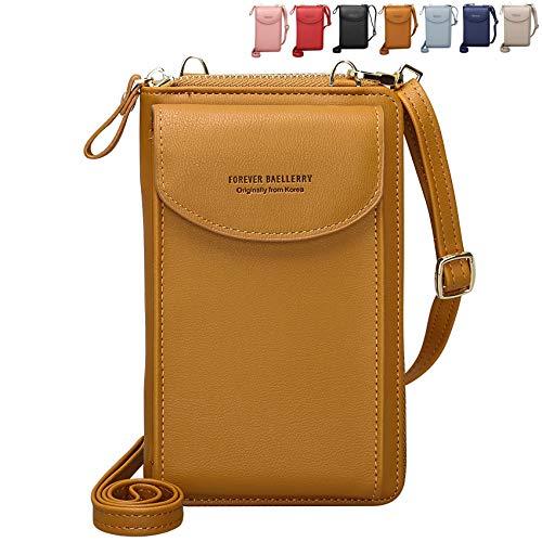 Crossbody Tasche Handytasche Brieftasche Damen Umhängetasche Geldbörse mit Credit Card Slots für Frauen (Braun)