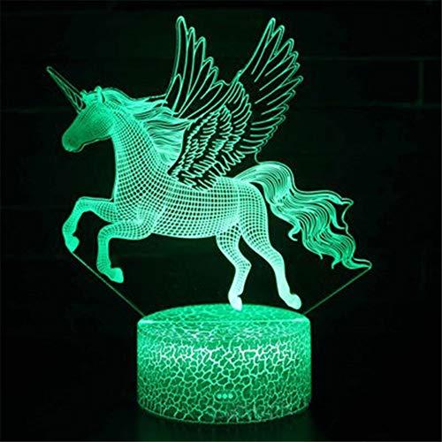 3D Illusion Einhorn Schreibtisch Tischlampe Mit Variabler Farbe Halter Basis, Kinder Fairy Night Lights Ideal Für Home Schlafzimmer Geburtstagsfeier Kinder Präsentieren Weihnachten