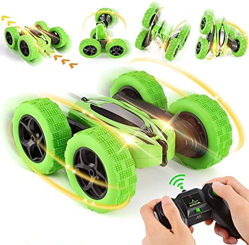 OCDAY Ferngesteuertes Auto, Wiederaufladbar RC Stunt Auto Rennauto, High Speed Spielzeugauto, Radio Ferngesteuerter Buggy Auto, Auto Spielzeug Rennfahrzeug für Kinder Jungen Mädchen (Green)
