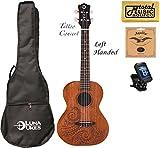 Luna Mahogany Tattoo Concert Ukulele LEFTY w/Strings,Tuner & CP, UKE TC MAH L COMP