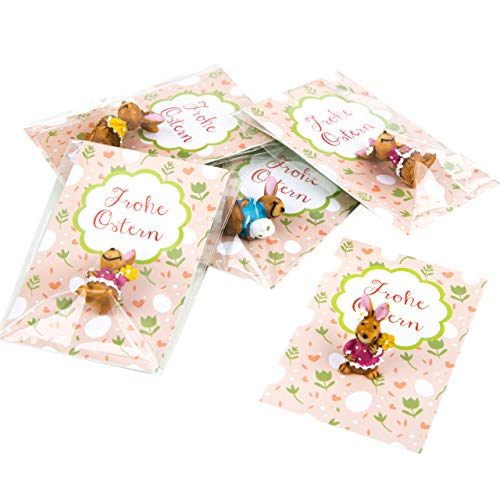Logbuch-Verlag Mini Gastgeschenken Frohe Pasen wenskaart + kleine paashaas - minigeschenk kleintje gift Pasen 10 Stück Haas met kikker Pasen kaart roze groen