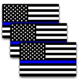 Anley 5 X 3 inch Thin Blue Line US Flag Decal - Black White and Blue Reflective Stripe American Flag Car Stickers - Support Police and Law Enforcement Officers (3 Pack)