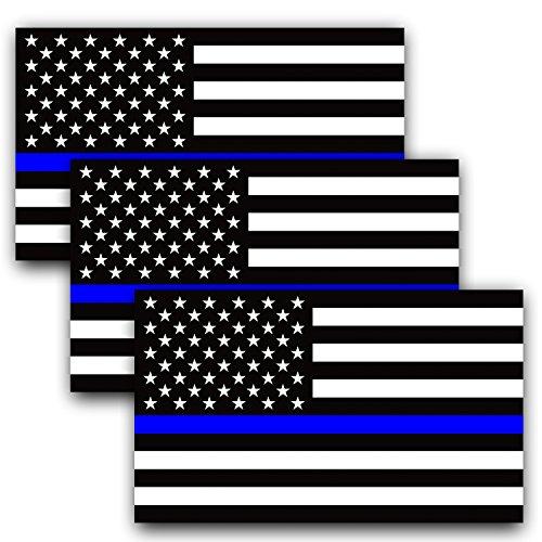 Anley 5 X 3 Zoll Dünne Blaue Linie US-Flagge Aufkleber - Amerikanische Flagge Auto Aufkleber - Unterstützung Polizei und Strafverfolgungsbehörden (3er Pack)