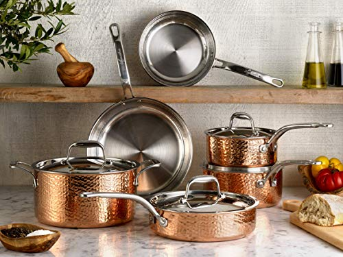 Lagostina Martellata Tri-ply Hammered Copper 11 PC Pots and Pans Cookware Set, Copper