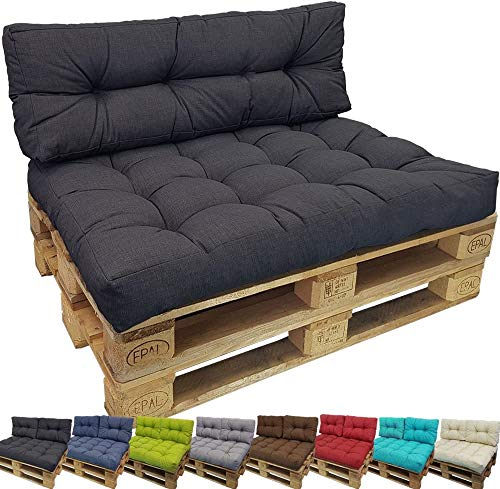 DILUMA Euro-pallet cushions Comfort for Indoor/Outdoor - Pallet Furniture Cushion - 1 Seat cushion 120 x 80 x 15 cm + 1 Long back cushion 120 x 40 x 10-20 cm, Colour:Anthracite