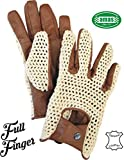 AMAS The Best GUANTI DA GUIDA VINTAGE AUTO MOTO EPOCA FULL FINGER IN PELLE + RETE CAFE' RACER (MARRONE, 3XL)