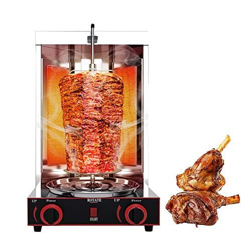 Lumemery Grill Vertical Commercial Doner Shawarma Kebab Machine à gaz Propane Gril de Barbecue sans fumée pour Restaurant Home Kitchen