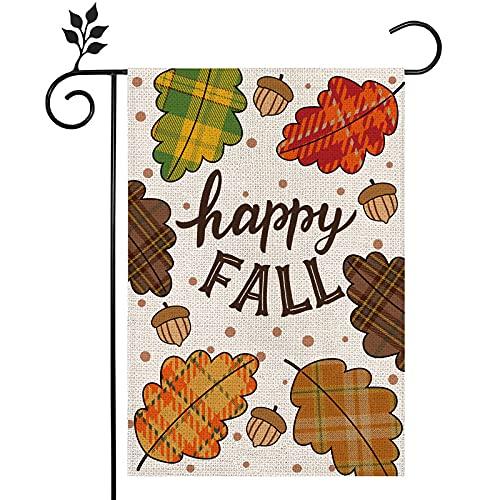 Whaline Happy Fall Garden Flag Vintage Cartoon Leaves Acorns Burlap Garden Flag Double-Sided Autumn Decorative Yard Flag Farmhouse Decorative House Flag for Outdoor Lawn Patio Party, 12.5 x 18 Inch