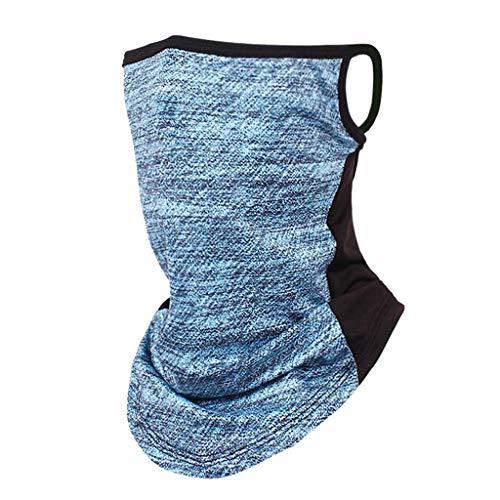 Iwähle Männer Herren Gesichtsmaske mit Ohrhaken, für Outdoor Wandern Radfahren Laufen Motorrad Halstuch Schlauchtuch Atmungsaktiv Hochelastisch Schal Multifunktionstuch (Blau)