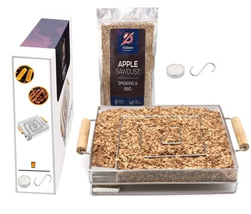 BlackHoleur | Fumoir à Froid - Devenez Un maître du Fumage avec Le générateur de fumée. sciure pour fumoir, Bougie S-Hook | Viande et Poisson Kit - 304