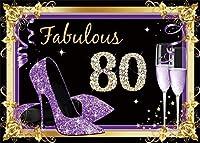 女性のための新しい紫80歳の誕生日の背景7x5ft素晴らしい80歳のダイヤモンドスタイルの写真の背景母の女性の誕生日80周年記念写真画像boothプロップデジタル壁紙