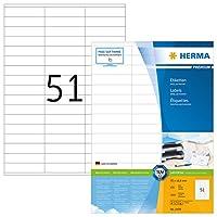 Herma 445970x 16.9mmカラーレーザー用紙長方形プレミアムマルチ機能ラベル–マットホワイト( 5100ラベル、51perシート)
