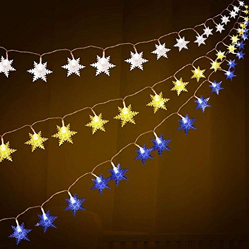 XDHN LAmp 3 Pieces Christmas Snowflake String Lights 10 Feet Garland of 20 LED Lights Blue Snowflake Fairy Lights Christmas Decorations Blue White Warm White 1012