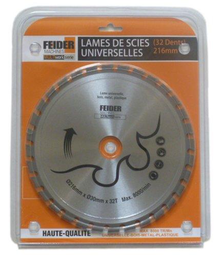 Feider F216LU universeel mes voor verschillende materialen, 216 x 30 mm, 32 tanden