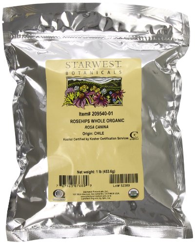 Starwest Botanicals Whole Organic Rose Hips, 1 Pound