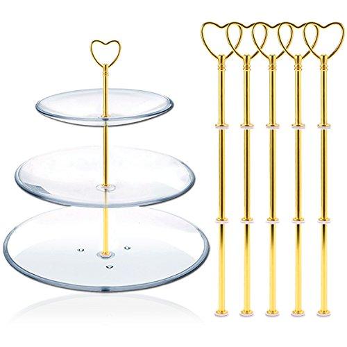 Hamimelon 5 Set Gold Metallstangen Mittellochausstech Herz Motiv für 2 bis 3 Etagen Etageren Hochzeitstorte Tortenständer 32cm