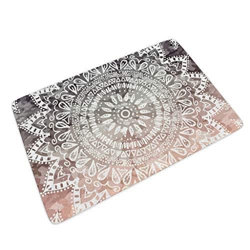 O4EC2-8 Multisize Bohemian Hygge Mandala Rechteckige Fußmatten rutschfest Innen/Außen Patio Verwenden - Psychedelic für Türdekor White 45x75 cm