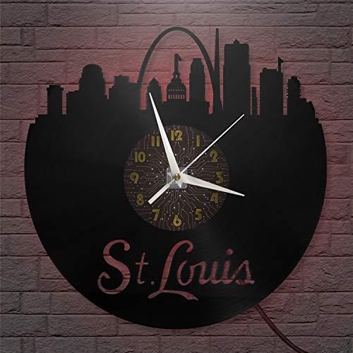 YH Reloj de Pared con Disco de Vinilo St. Louis de 30 CM, Reloj LED silencioso y sin tictac, Adecuado para Cocina, Sala de Estar, Dormitorio-C