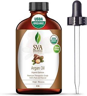 SVA Organics Argan Oil Organic Cold Pressed 4 Oz USDA 100% Pure & Natural Authentic Premium Therapeutic Grade Carrier Oil ...