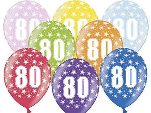 Luftballons 80. Geburtstag 6 Stück bunt