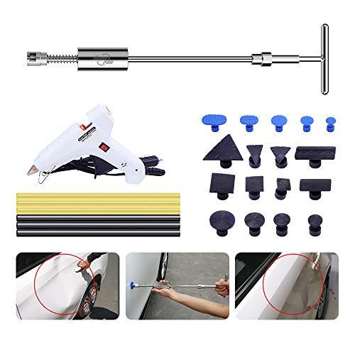 Uhomer Dellen Reparatur Ausbeulwerkzeug Set Lackfreies, Auto Dellen Reparaturset Dent Puller Tools mit T-Bar Dent Abzieher für Motorrad, Waschmaschine,Spülmaschine
