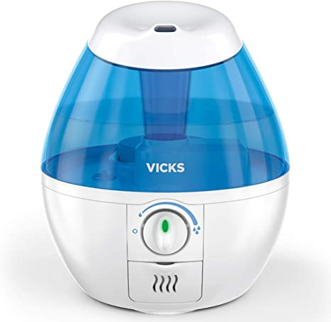 Vicks Mini Filter-Free Cool Mist Humidifier, Small Room, .5 Gallon Tank, Blue – Visible Mist Small Humidifier for Bedrooms, Baby Nurseries and More, Works with Vicks VapoPads