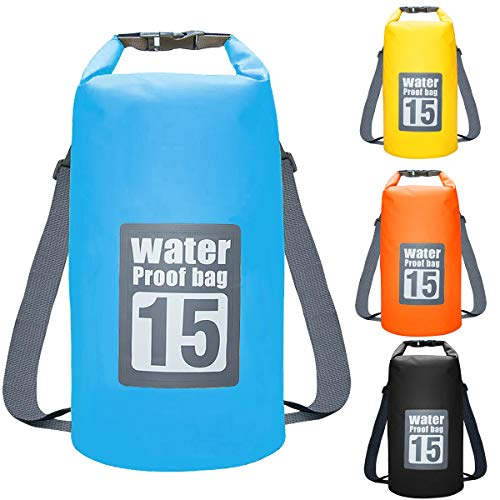 Dokpav Borsa Impermeabile, 15L Dry Bag per Piscine, Nave, Trekking, Kayak, Canoa, Pesca, Rafting, Nuoto, Campeggio,Snowboard,con Tracolla Regolabile Doppia (Blu)