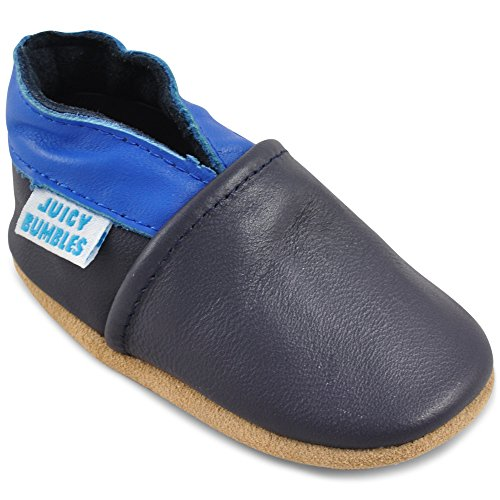 Miękkie skórzane buty do nauki chodzenia, do raczkowania, do domku dla niemowląt z zamszową podeszwą. Dla chłopców i dziewczynek 0-6 miesięcy 6-12 miesięcy 12-18 miesięcy, 18-24 miesięcy, 2-3 lata, niebieski - niebieski i granatowy. - 12-18 Miesi?cy